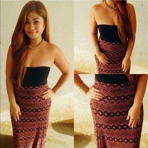 POETRY | Aztec Tribal Print Maxi Skirt Size XL
